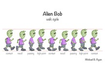 Alien Bob walk cycle - digital