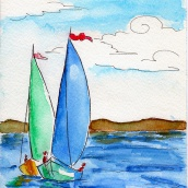 Watercolor: Boats