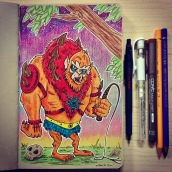 Beast Man - color pencils on toned paper