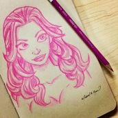 Pink Girl - color pencils on toned paper