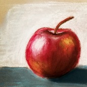 an apple - pastels on toned paper