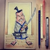 Samurai - color pencils