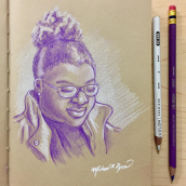 a student - color pencils on toned paper