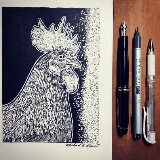 Pen & Ink: Rooster