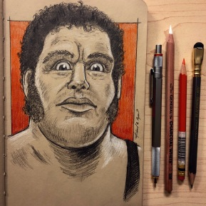 Andre the Giant - graphite and color pencil