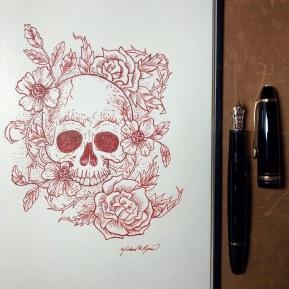 Skull & Flowers - ink